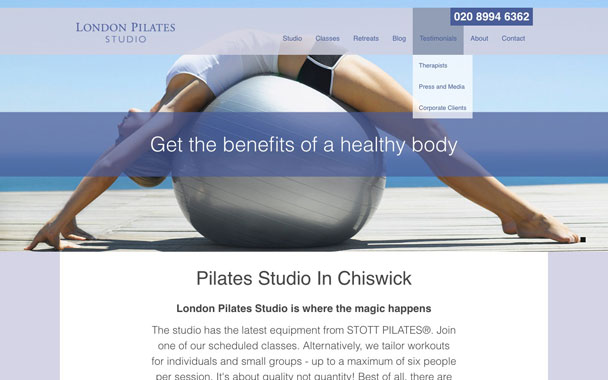 London Pilates Studio website design