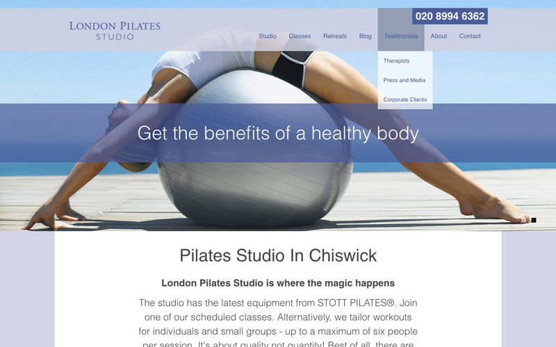 London pilates studio web design