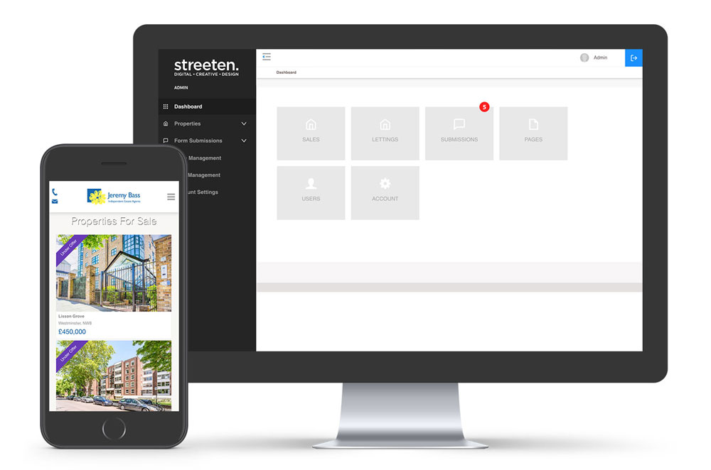 Estate agent website dashboard
